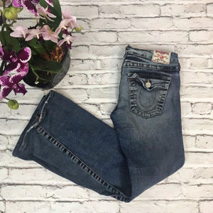 True Religion Twisted Flare Joey Distressed Jeans
